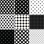 Set of nine seamless black polka dot patterns