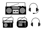 Black radio vector icons on white background