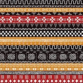 Black red yellow and white traditional african mudcloth fabric seamless pattern, vector background
