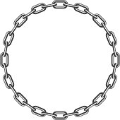 Black round chain isolated on white background. Circle frame concept. Vector illustration in flat style. EPS 10.