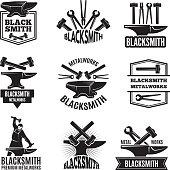 Black s for blacksmith. Vintage labels set for workshop, forge and metal equipment hammer illustration