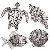 Black sea shells, fish and turtle. Hand Drawn  doodle vector illustration. Sketch for tattoo or makhenda. Seal collection. Ocean life set.