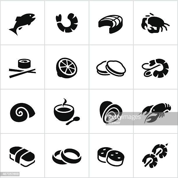 Black Seafood Icons