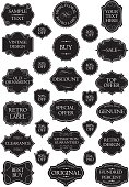 Collection of retro black label frames and shields on different design, decorated with swirl floral ornaments. File contain EPS8 and large JPEG.