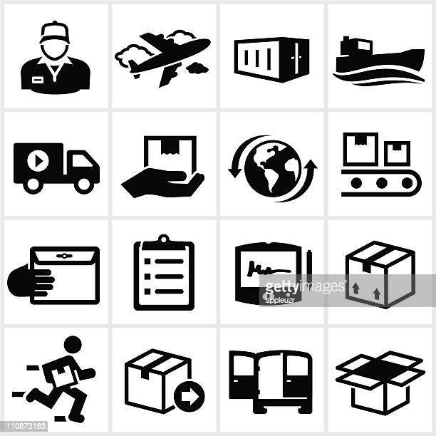 Black Shipping and Delivery Icons