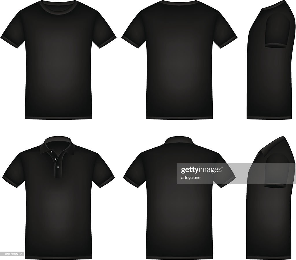 Black t shirt vector front and back - Black Shirt Vector Art