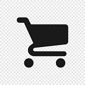 Black Shopping cart icon on transparent background. Eps10