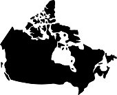 black silhouette country borders map of Canada on white background of vector illustration