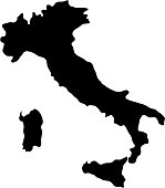 black silhouette country borders map of Italy on white background of vector illustration