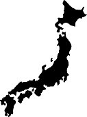 black silhouette country borders map of Japan on white background of vector illustration