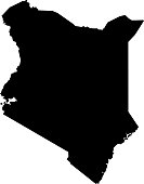 black silhouette country borders map of Kenya on white background. Contour of state. Vector illustration