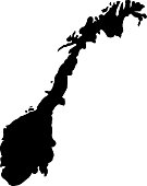 black silhouette country borders map of Norway on white background of vector illustration