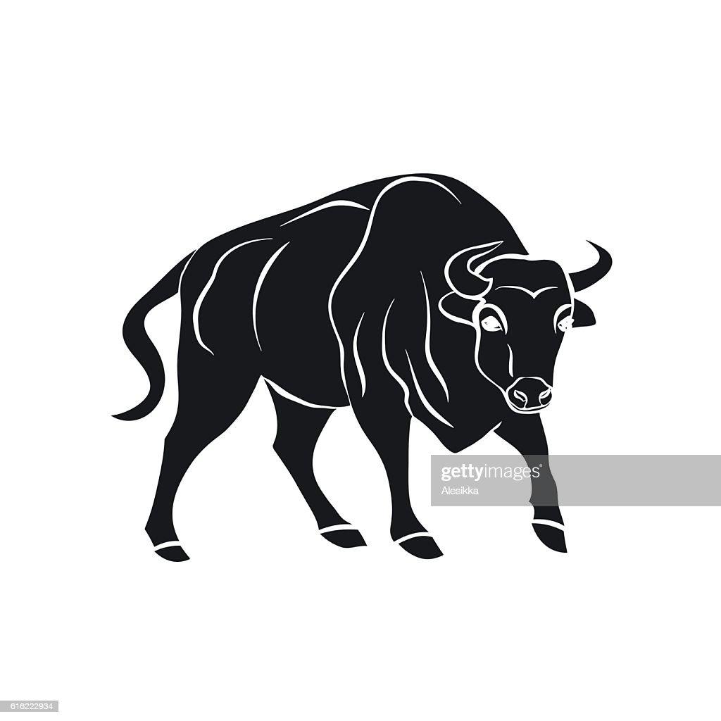 Noir silhouette de taureau sur fond blanc. : Clipart vectoriel