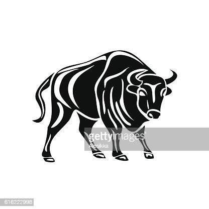 black silhouette of bull on white background. : Vector Art