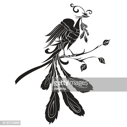 Black silhouette of fire-bird . : Vector Art