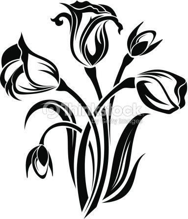 Noir silhouette de fleurs illustration vectorielle clipart vectoriel thinkstock - Dessin de fleur en noir et blanc ...