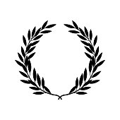 Black silhouette of greek laurel wreath in flat style, vector illustration isolated on white background. Icon or emblem of laureate branches or bays as symbol of victory and triumph