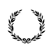 Black silhouette of greek laurel wreath with bow in flat style, vector illustration isolated on white background. Icon or emblem of laureate branches or bays as symbol of victory and triumph