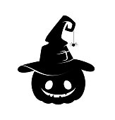 Black silhouette of halloween pumpkin in witch hat. Vector illustration