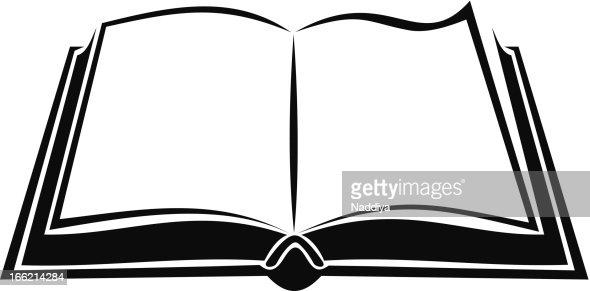 Imagen De Un Libro Abierto Para Colorear Avec Encantador: Black Silhouette Of Open Book Vector Illustration Vector