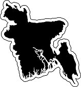 Black silhouette of the country Bangladesh with the contour line or frame. Effect of stickers, tag and label. Vector illustration.