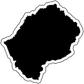 Black silhouette of the country Lesotho with the contour line or frame. Effect of stickers, tag and label. Vector illustration.
