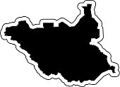 Black silhouette of the country South Sudan with the contour line or frame. Effect of stickers, tag and label. Vector illustration.