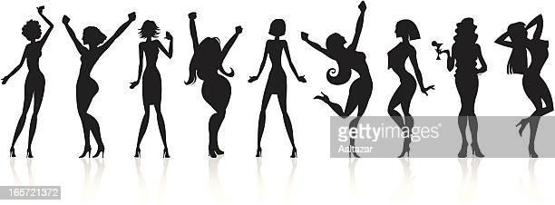 Schwarze Silhouetten-Disco Girls