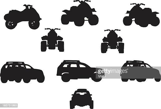 Black silhouettes of off-road vehicles including SUVs