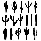 Black saguaro silhouettes of various forms. Vector illustration
