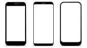 Black Smart Phones Vector Illustration With White Screens