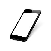 Black rotated smartphone on white background. Mock up phone with blank screen. Isolated vector illustration.