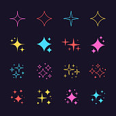 Black sparkles symbols vector. The set of original vector stars sparkle icon. Bright firework, decoration twinkle, shiny flash. Glowing light effect stars and bursts collection.