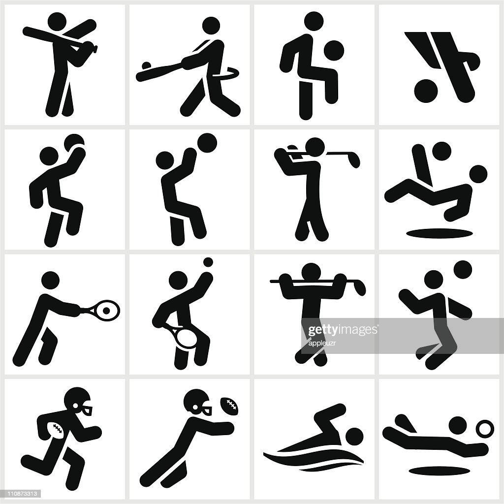 Black Sports Players Icons : Vector Art