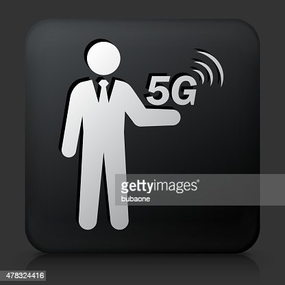 Black Square Button with 5G Connection Icon : Vector Art