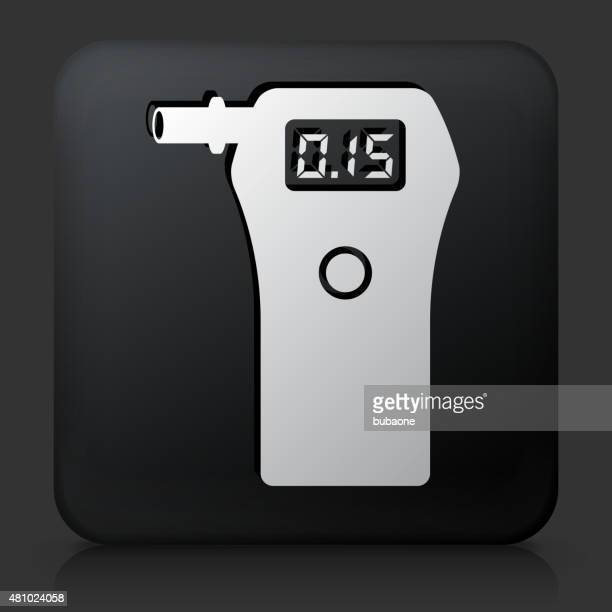 Black Square Button with Alcohol Detector Icon
