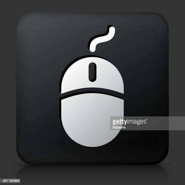 Black Square Button with Computer Mouse