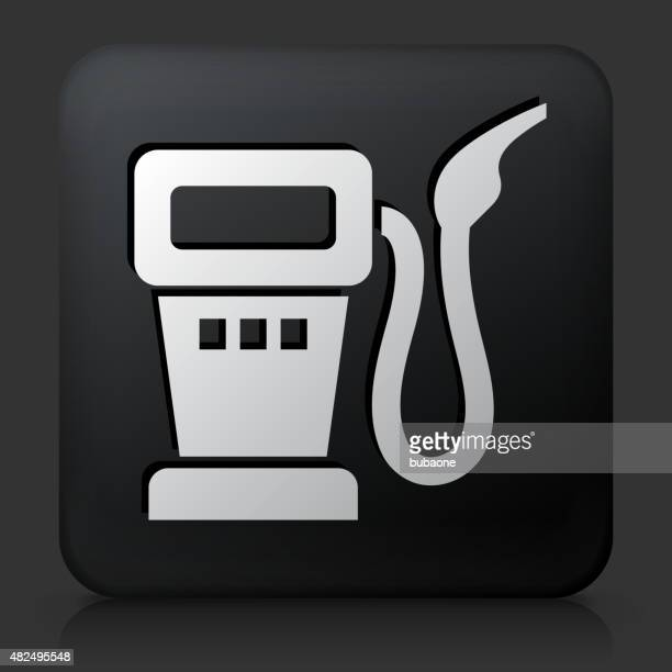Black Square Button with Gas Pump