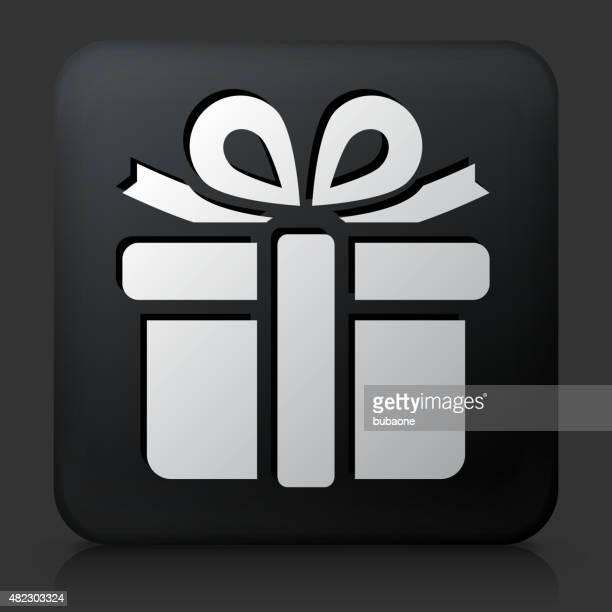 Black Square bouton avec l'icône de boîte-cadeau
