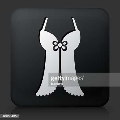 Black Square Button with Lingerie icon : Vector Art