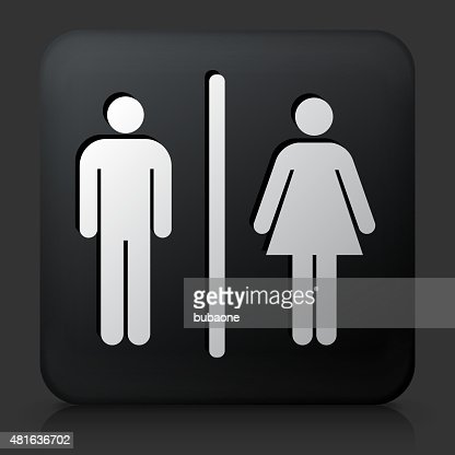 Black Square Button with Male and Female Bathroom Sign   Vector Art. Black Square Button With Male And Female Bathroom Sign Vector Art