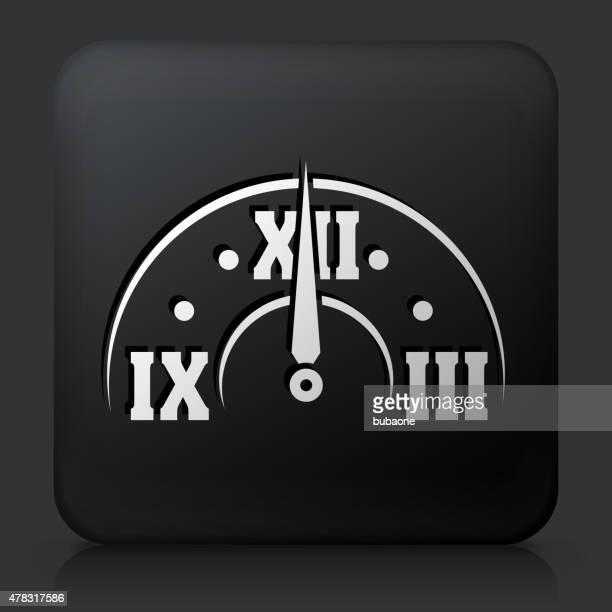 Bouton carré noir avec minuit le réveil