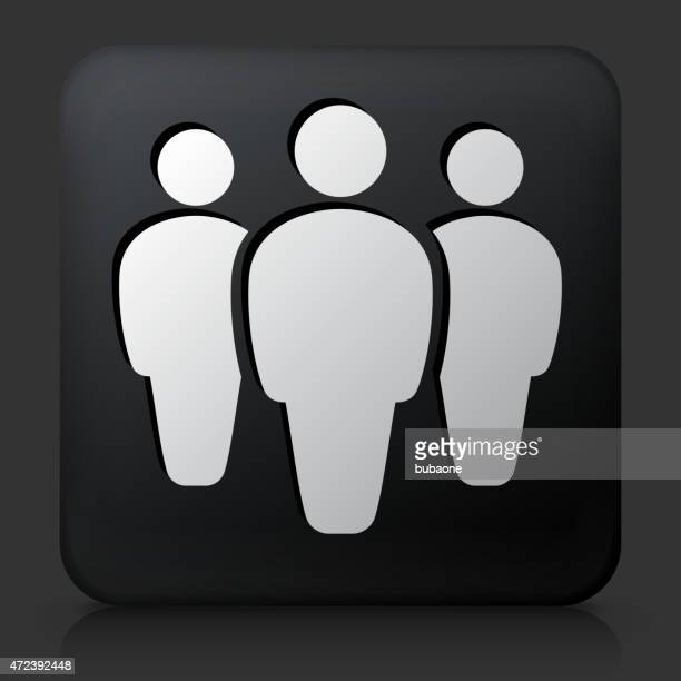 Black Square Button with Small Group Icon