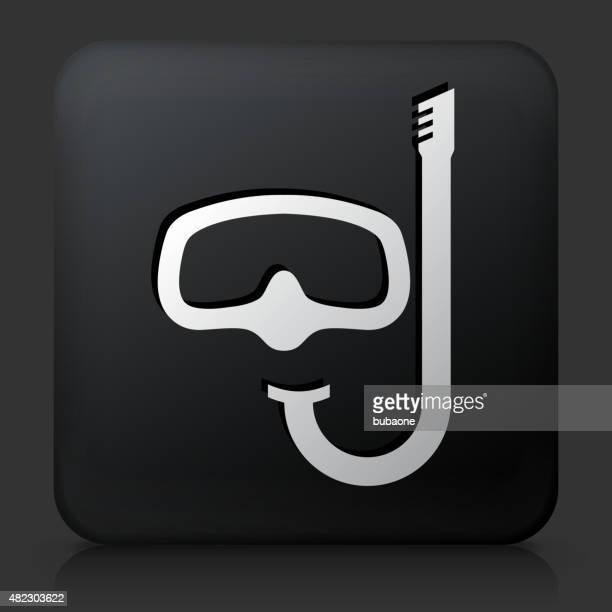 Black Square Button with Snorkeling Icon