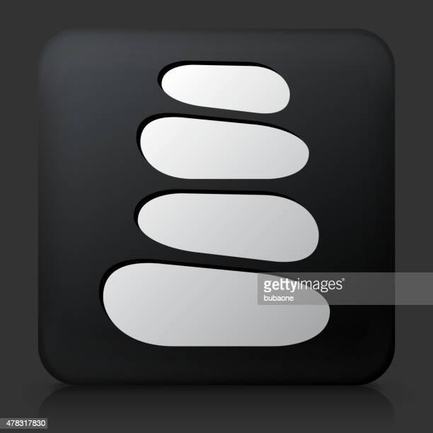 Schwarze rechteckige Schaltfläche mit Stein Weg-Symbol