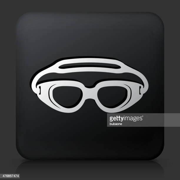 Black Square Button with Swimming Goggles Icon