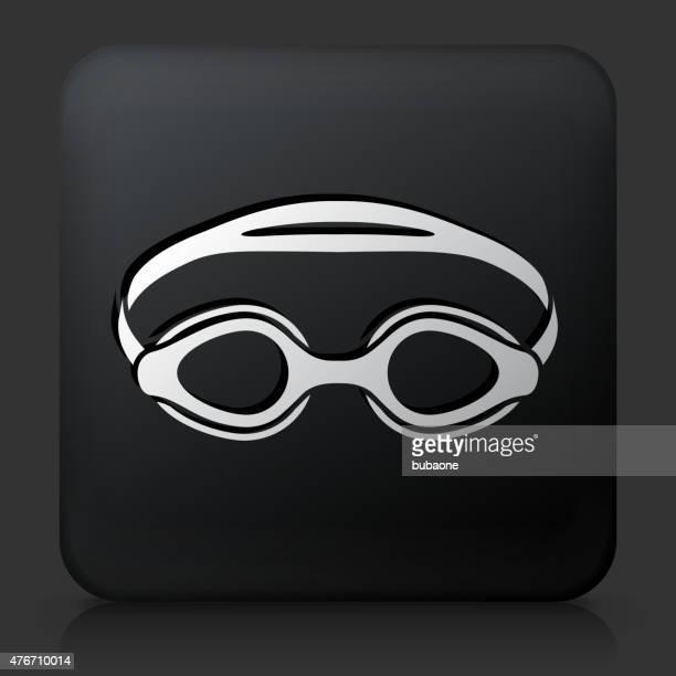 Black Square Button with Swimming Goggles