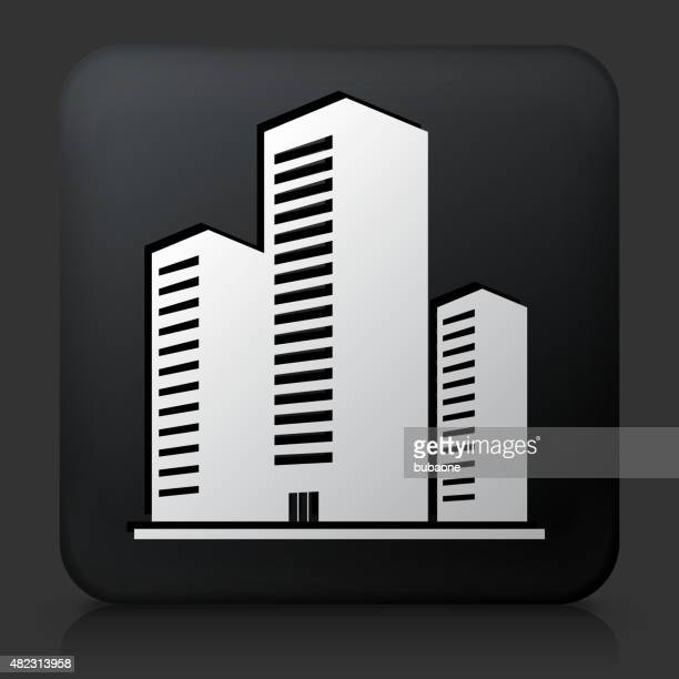 Black Square Button with Three Buildings