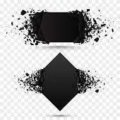 Black square stone with debris isolated. Abstract black explosion. background. Vector illustration