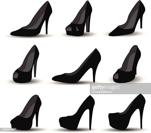 Black stiletto shoes of various design
